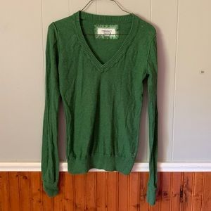 American Eagle Small V-Neck Knit Sweater Green